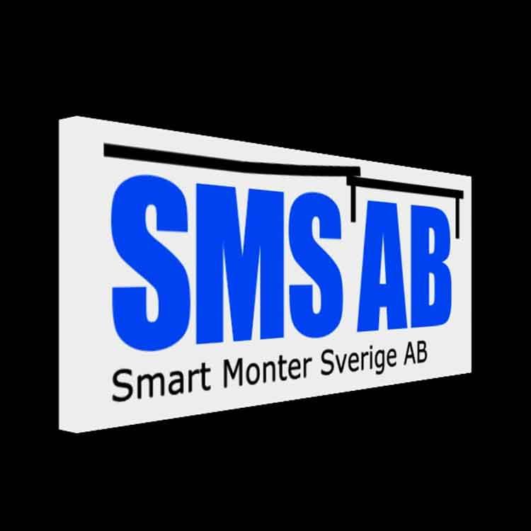 Ej vektoriserad SMS AB logotyp som hologram. Smart 3d Holo