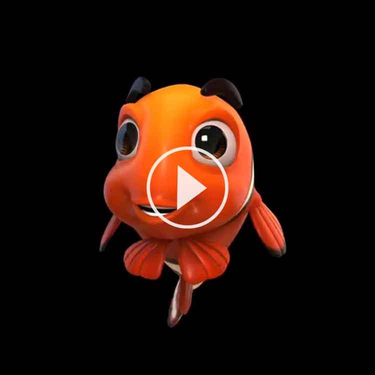 Färdiga hologram glad fisk till hologram fläkt Smart 3D Holo