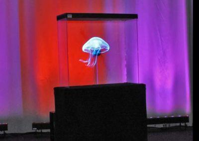 Hologram blå mant med färgad bakgrund Smart 3D Holo. Hologram fläkt