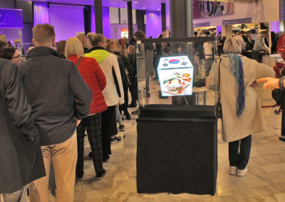 Hologram i entren bokmässan event Smart 3D Holo hhologramfläkt