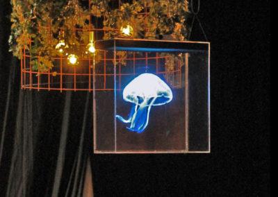 Hologram hängande blå manet Smart 3D Holo. Hologram fläkt
