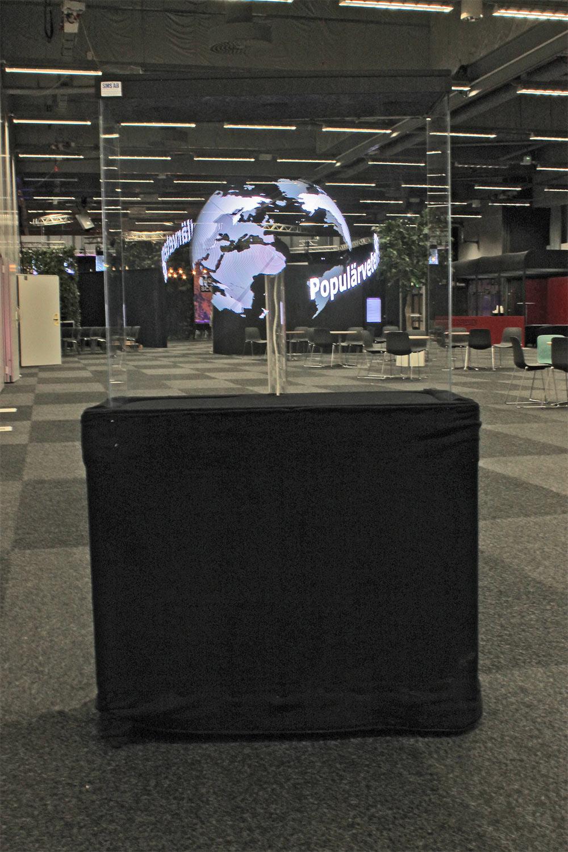 Hyra hologram till mässa och event. Hologram fläkt Vit jordglob Smart 3D Holo