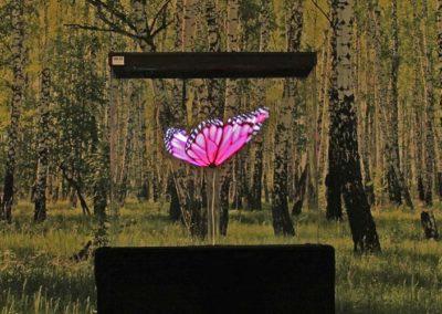 Hologram fjäril i björkskog Smart 3D Holo. Hologram fläkt