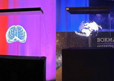 Hjärna och jordglob hologram fläkt event Smart 3D Holo hologramfläkt