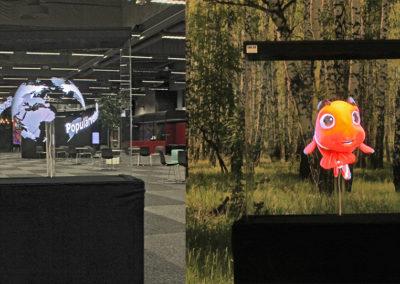 Jordglob och glad fisk hologram fläkt event Smart 3D Holo hologramfläkt