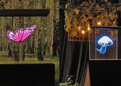 Fjäril och blå manet hologram event Smart 3D Holo hologramfläkt