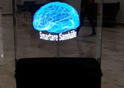Smart3DHolo Hjärna med text Åbymässan.
